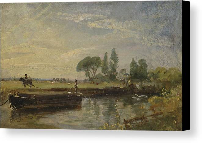 John Constable Canvas Print featuring the painting Title Barge Below Flatford Lock by John Constable