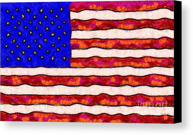 Usa Canvas Print featuring the photograph Van Gogh.s Starry American Flag by Wingsdomain Art and Photography