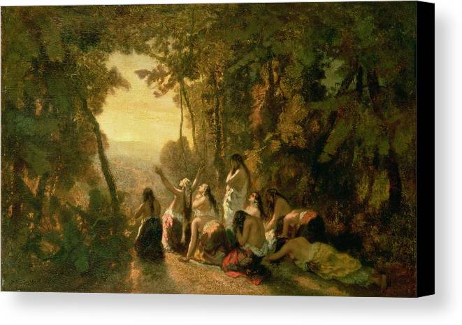 Weeping Canvas Print featuring the painting Weeping Of The Daughter Of Jephthah by Narcisse Virgile Diaz de la Pena