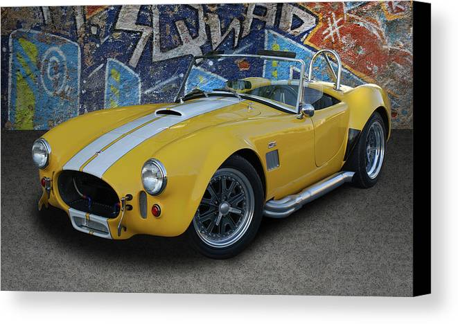 Sports Car Canvas Print featuring the photograph Yellow Ac Cobra by Nancy Aurand-Humpf