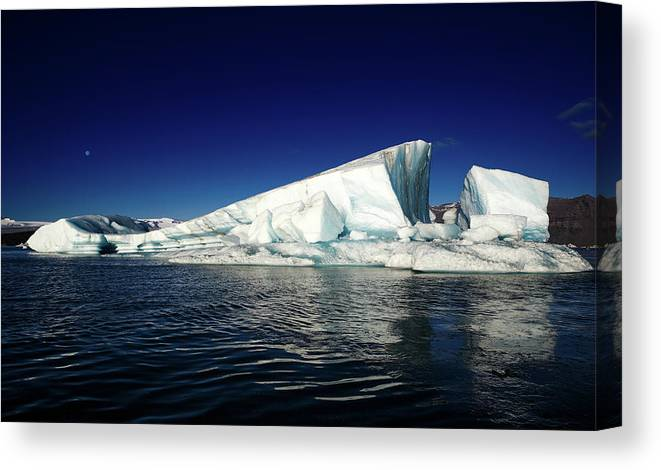 Photography Canvas Print featuring the photograph Icebergs-jokulsarlon Glacial Lagoon by Panoramic Images