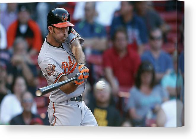 American League Baseball Canvas Print featuring the photograph Baltimore Orioles V Boston Red Sox by Jim Rogash