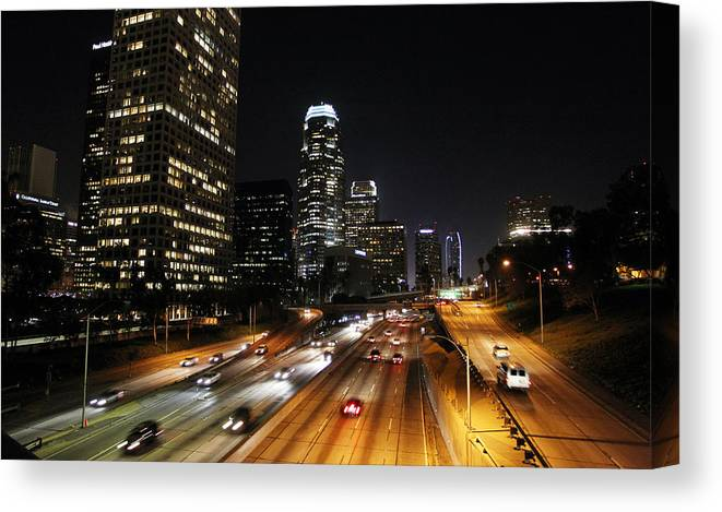 Los Angeles Canvas Print featuring the photograph City At Night - Los Angeles by David Buchan