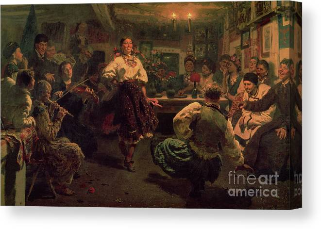 Celebration; Traditional; Dancing; Costume; Villagers; Village; Band; Music; Entertainment; Poverty; Poor; Happy; Folk; Dgt; Crt; Russia; Russian; Interior; Peredvizhniki; Peredvizhniki Group Canvas Print featuring the painting Country Festival by Ilya Efimovich Repin
