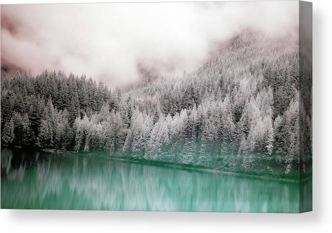 Tranquility Canvas Print featuring the photograph Forest And Pristine Lake by Marlene Ford