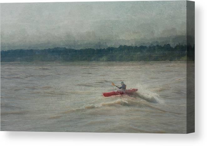 Kayak Canvas Print featuring the digital art Kayaking In Port Dover by Eduardo Tavares
