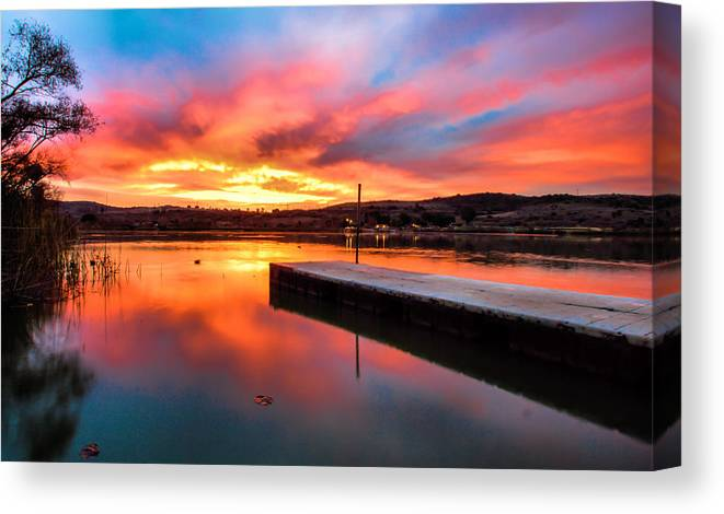 Lake Oneil Canvas Print featuring the photograph Lake Oneil Sunset by Robert Aycock