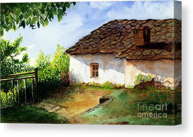 Landscapes Canvas Print featuring the painting Old House by Abhijit Dharankar