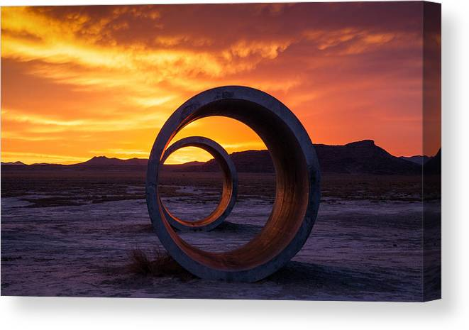 Sun Tunnels Canvas Print featuring the photograph Sun Tunnels by Peter Irwindale
