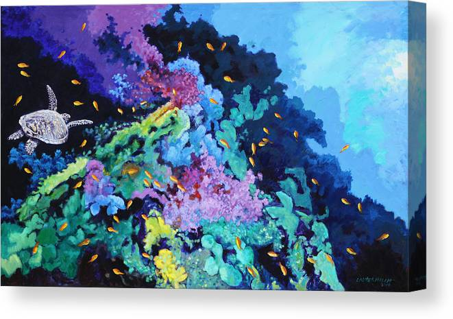Ocean Canvas Print featuring the painting Turtle In Wonderland by John Lautermilch