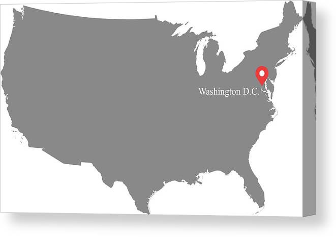 Usa Map Vector Outline Illustration With Capital Location, Washington Dc,  In Gray Background. Highly Detailed Accurate Map Of United States Of  America ...