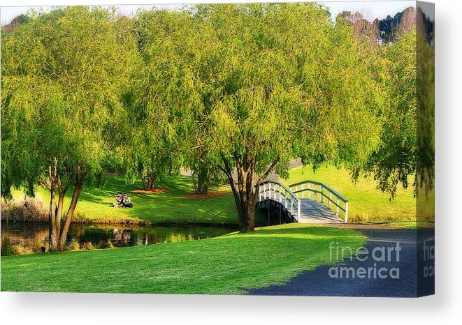 Photography Canvas Print featuring the photograph Little Bridge Over The River by Kaye Menner