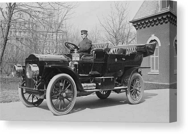 Us Presidents Canvas Print featuring the photograph Presidents Tafts,white Touring Car That by Everett