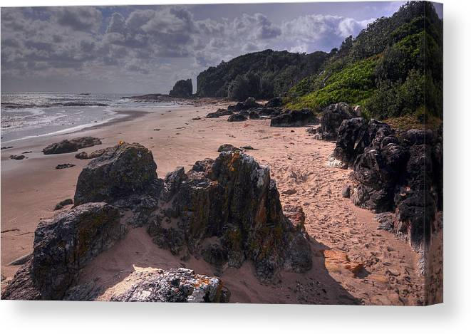 Landscape Canvas Print featuring the photograph Rocks On The Shore by Terry Everson