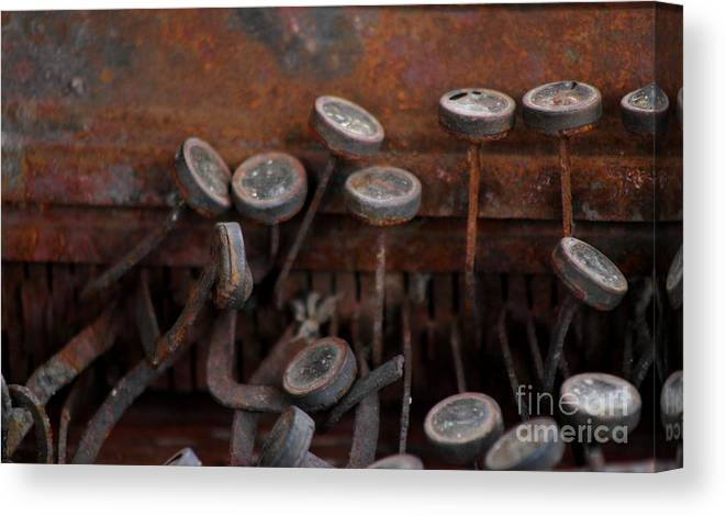 New Mexico Canvas Print featuring the photograph Rusty Typewriter by Ashley M Conger