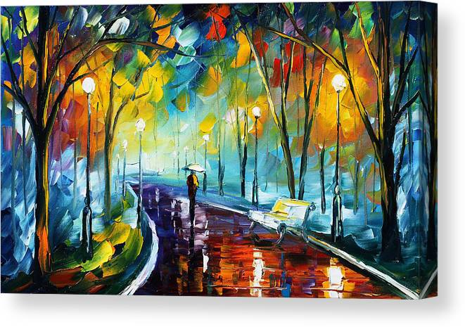 Afremov Canvas Print featuring the painting Night Park by Leonid Afremov