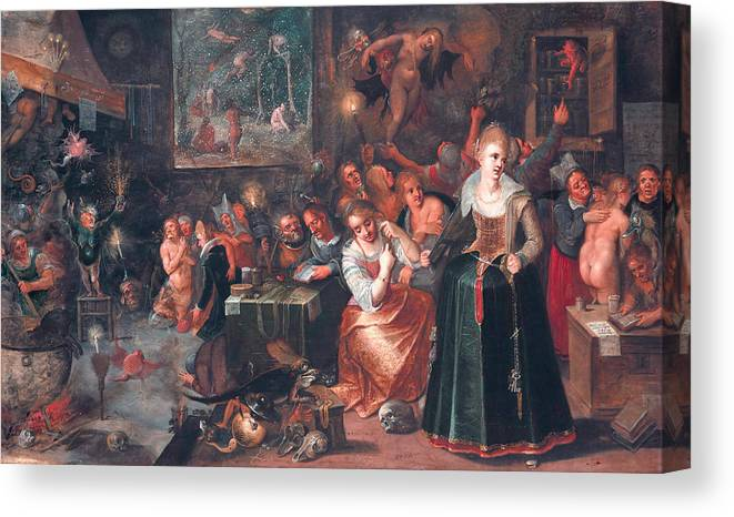 17th Century Art Canvas Print featuring the painting The Witches' Sabbath by Frans Francken the Younger