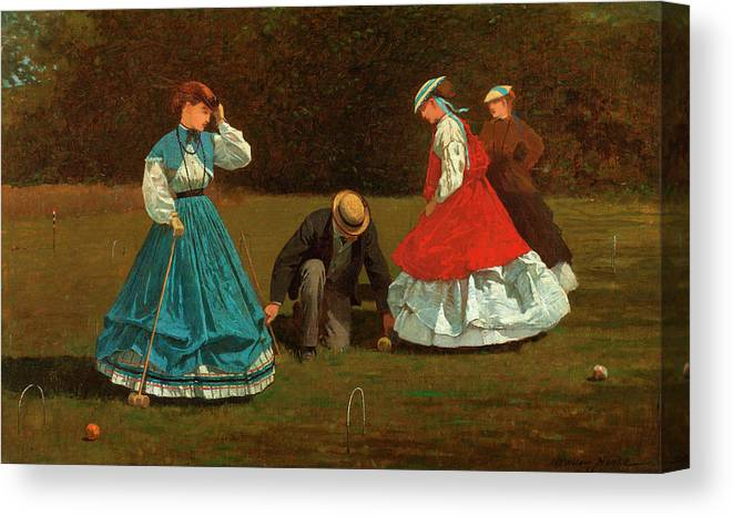 Croquet Scene Canvas Print featuring the painting Croquet Scene by Winslow Homer