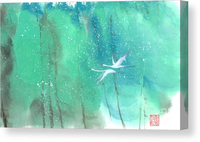 This Is A Contemporary Chinese Ink And Color On Rice Paper Painting With Simple Zen Style Brush Strokes. A Pair Of Graceful Cranes Flying In The Snowy Forest. Canvas Print featuring the painting A Quiet Song by Mui-Joo Wee