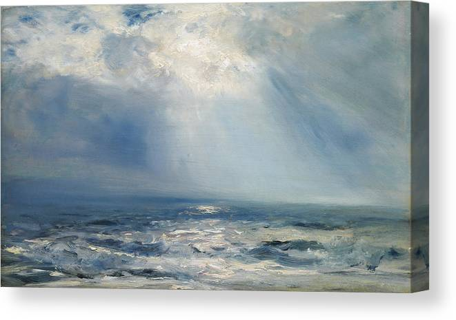 9b273b83e58 Seascape Canvas Print featuring the painting A Sunbeam Over The Sea by  Henry Moore