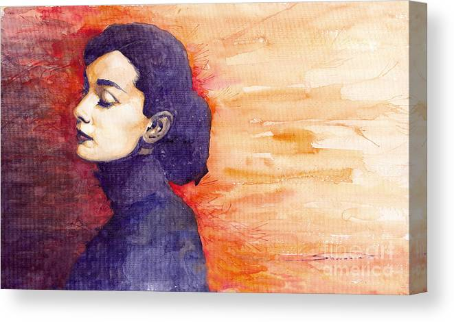 Watercolour Canvas Print featuring the painting Audrey Hepburn 1 by Yuriy Shevchuk