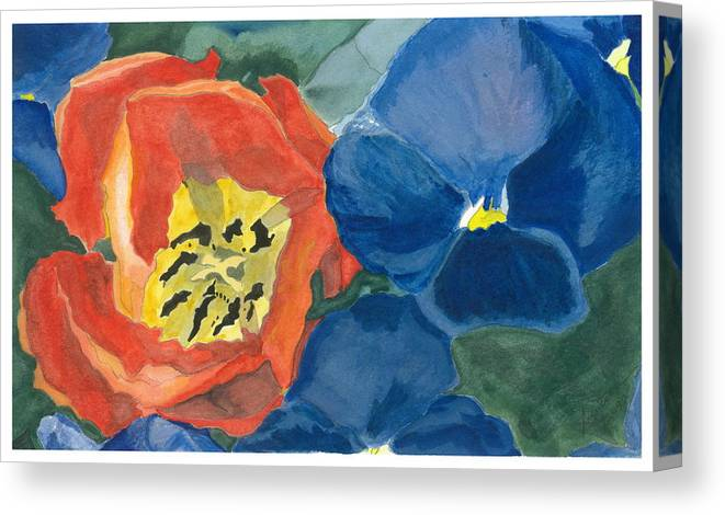 Tulip Canvas Print featuring the painting Cat Tulip by Joel Deutsch