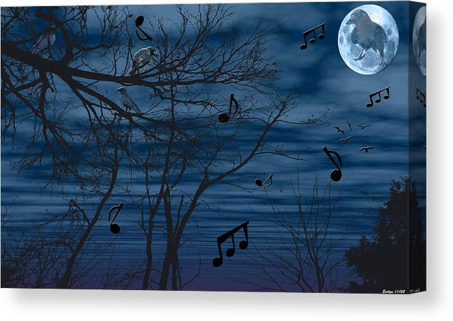 Birds Canvas Print featuring the photograph Crow Sings At Midnight by Evelyn Patrick