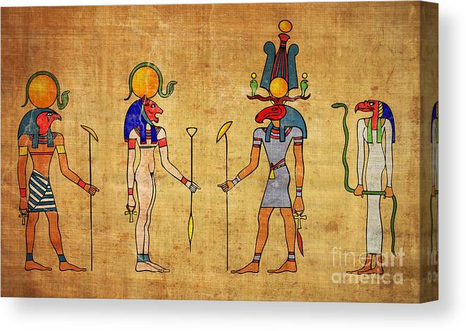 Egypt Canvas Print featuring the digital art Egyptian Gods And Goddness by Michal Boubin