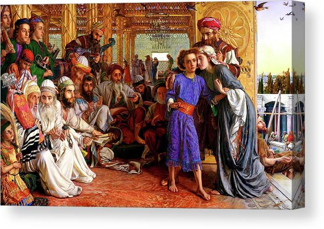 William Holman Hunt Print Canvas Print featuring the painting Finding The Savior In The Temple by William Holman Hunt