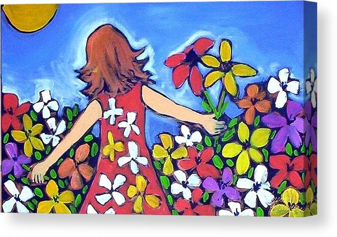 Garden Canvas Print featuring the painting Garden Of Joy by Winsome Gunning