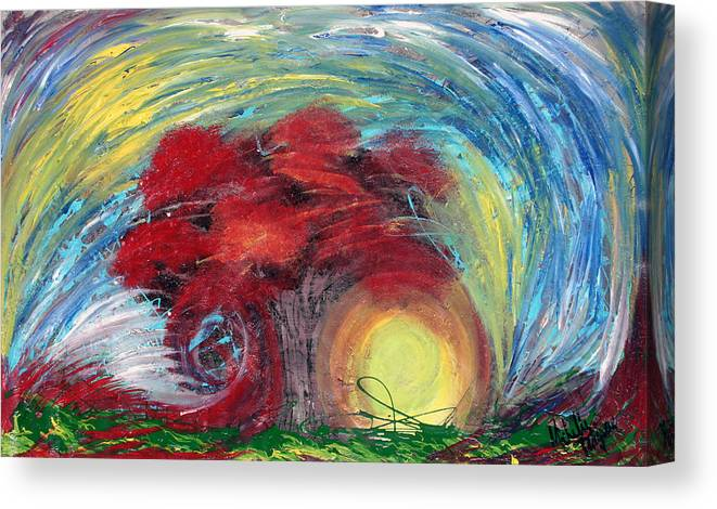 The Tree Canvas Print featuring the painting Havoc Winds And Strong Tree by Michelle Teague