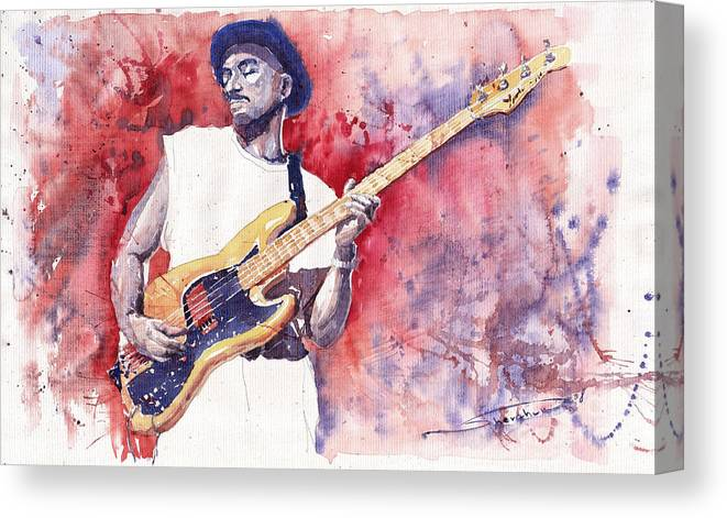 Jazz Canvas Print featuring the painting Jazz Guitarist Marcus Miller Red by Yuriy Shevchuk