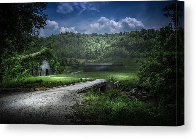 Barn Canvas Print featuring the photograph Just Over The Bridge by Marvin Spates