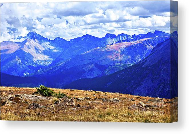 Adventure Canvas Print featuring the photograph Longs Peak Rocky Mountain National Park by Thomas Anderson