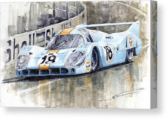 Watercolor Canvas Print featuring the painting Porsche 917 Lh 24 Le Mans 1971 Rodriguez Oliver by Yuriy Shevchuk