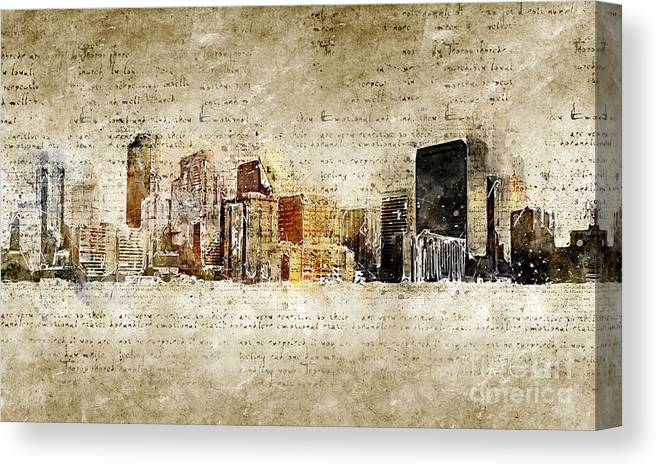 Skyline Canvas Print featuring the digital art skyline of Denver in modern and abstract vintage-look by Michael Kuelbel