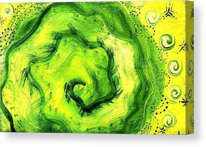Green Canvas Print featuring the painting Spiral Of The Heart by Chandelle Hazen