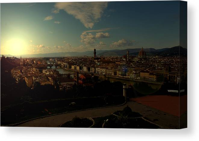 Sunset Canvas Print featuring the photograph Sunset In Florence by Christine Buckley