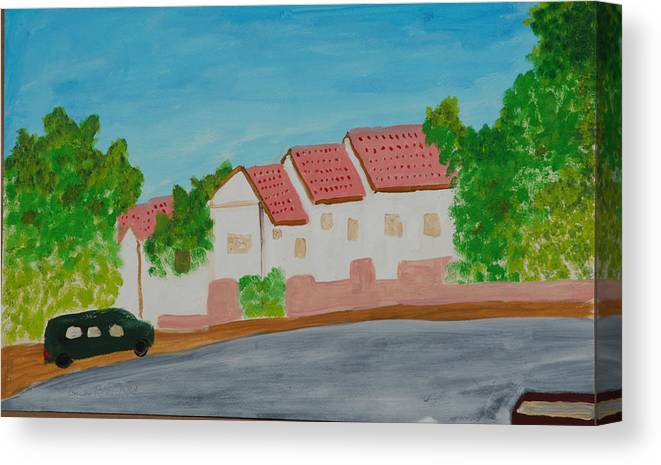 Tile-roof Canvas Print featuring the painting Three Houses by Harris Gulko