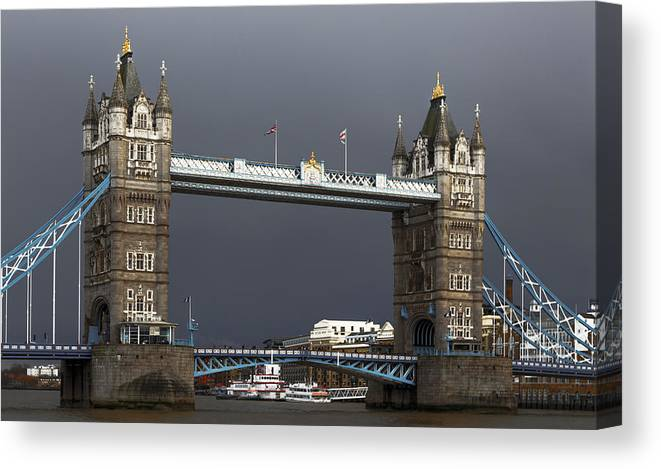 Canvas Print featuring the digital art Tower Bridge by Chris Locke