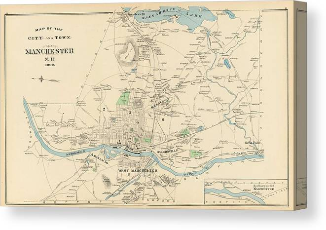 Vintage Map Of Manchester Nh - 1892 Canvas Print on