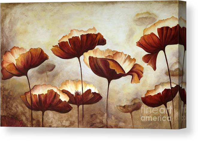 Studio Canvas Print featuring the digital art Painting Poppies With Texture by Mauricio Graiki