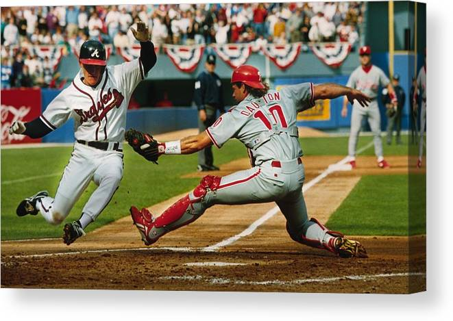 Atlanta Canvas Print featuring the photograph Jeff Blauser And Darren Daulton by Ronald C. Modra/sports Imagery