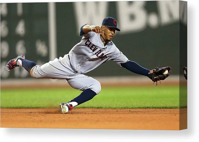 People Canvas Print featuring the photograph Rusney Castillo And Francisco Lindor by Jim Rogash
