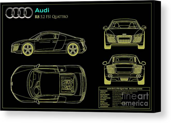 Audi r8 blueprint canvas print canvas art by jon neidert audi r8 blueprint canvas print featuring the photograph audi r8 blueprint by jon neidert malvernweather Image collections