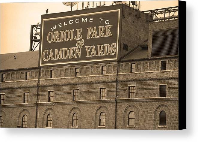America Canvas Print featuring the photograph Baltimore Orioles Park At Camden Yards by Frank Romeo