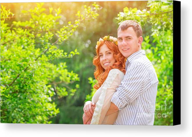 Adult Canvas Print featuring the photograph Happy Loving Couple by Anna Om