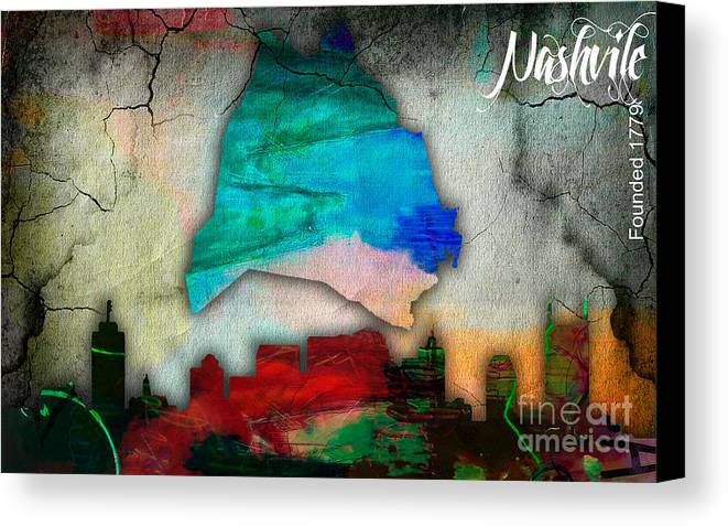 Nashville Art Canvas Print featuring the mixed media Nashville Skyline And Map Watercolor by Marvin Blaine