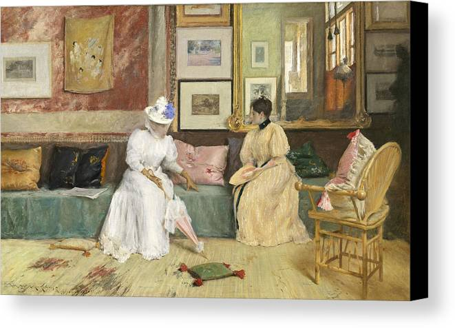 Sitting; Room; Parasol; Conversation; Interior; Society; American; Impressionist; Impressionism; Visit; Ten; Group; Friends; Conversing Canvas Print featuring the painting A Friendly Call by William Merritt Chase