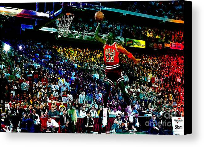 Michael Jordan Canvas Print featuring the mixed media Michael Jordon by Marvin Blaine
